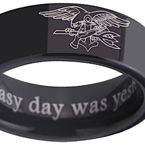 US Navy Seal Ring Black 8mm Tungsten Size 10.5 NEW